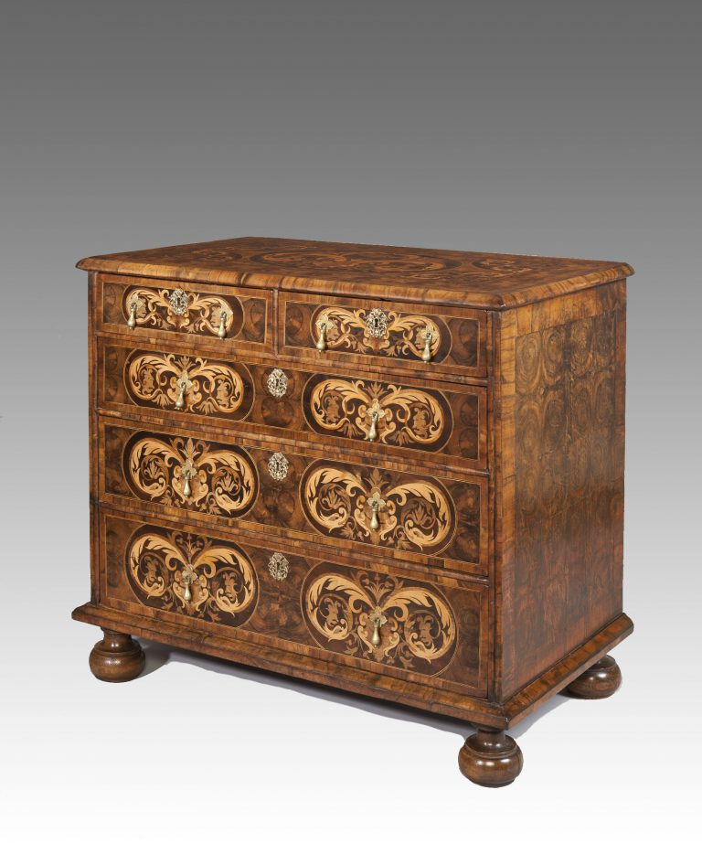 William and Mary oyster chest of drawers