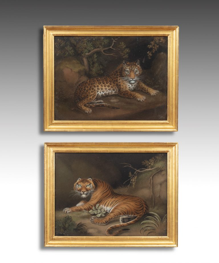Antique pair of sand paintings of a Tiger and Leopard