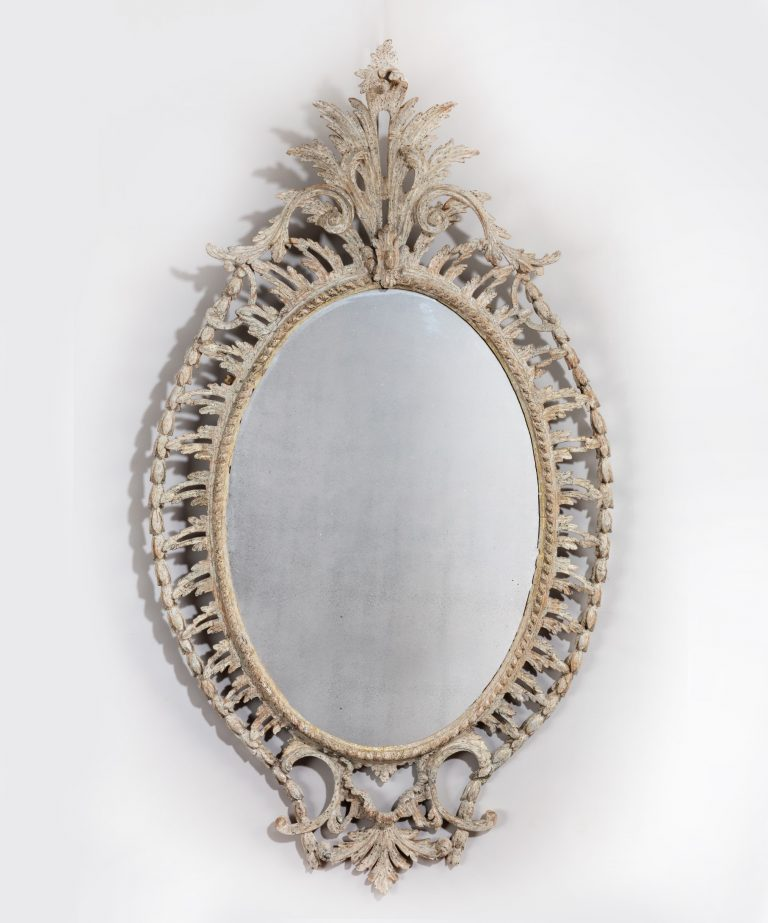Painted antique Georgian oval mirror